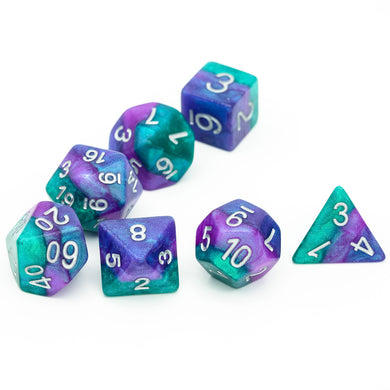 Udixi: Blue, Purple, Green Layered Galaxy Dice