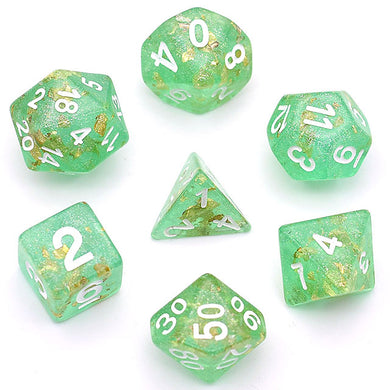 Udixi: Green with Gold Foil Dice Set