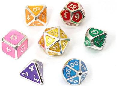 Mythica Platinum Rainbow Metal Polyhedral set