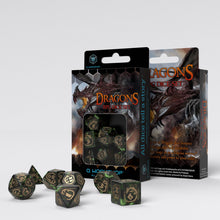 Load image into Gallery viewer, Dragon Bottle Green & Gold Dice Set
