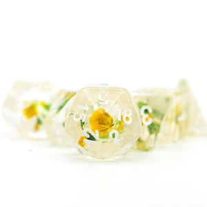 Udixi: Yellow & Green w/White Flower Dice