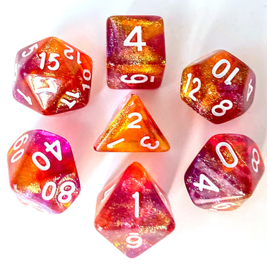 Udixi: Purple & Orange Glitter Dice (White font)