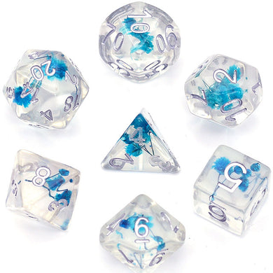 Udixi: Flower Blue with Silver Dice