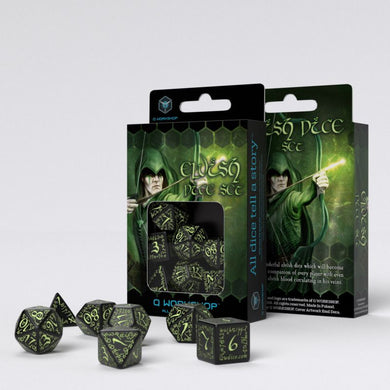 Elvish Black & Glow-in-the-Dark Dice Set