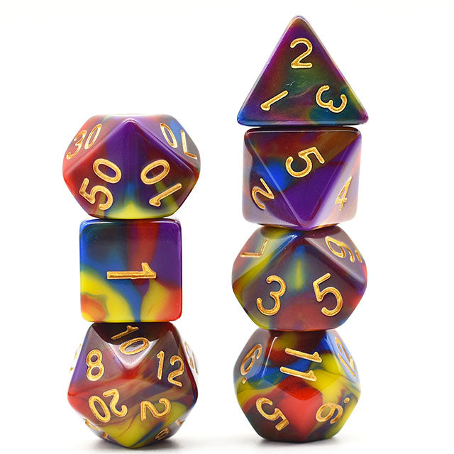 Udixi: Four Colour Dice (Purple, Blue, Red, Yellow)