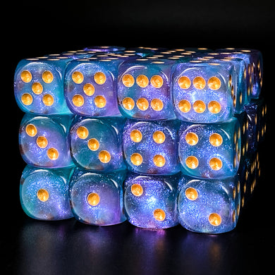 Udixi: Purple & Cyan 16mm Pip Glitter Dice (Single)