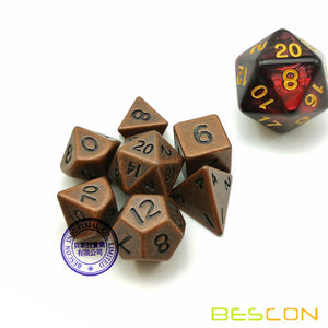 Bescon Dice: Mini Metal Antique Copper Polyhedral Set