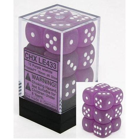CHXLE433: Frosted Purple/White 16mm d6 (12) dice set