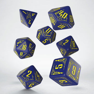 Q Workshop Navy & Yellow Galactic Dice Set