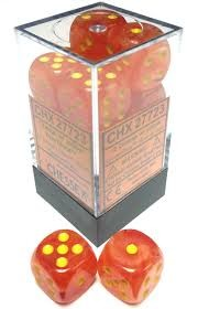 CHX27723: Orange/Yellow Ghostly Glow 16mm D6 (12 block) Dice Set