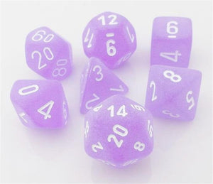 CHXLE430: Purple/White Frosted Polyhedral 7-Die Set