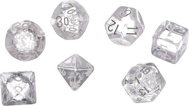 CHX23071: Clear/white Translucent Polyhedral 7-Die Set