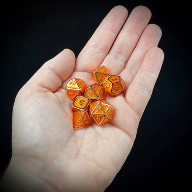 Mini Metal Polyhedral Dice Set - Copper/Orange Enamel