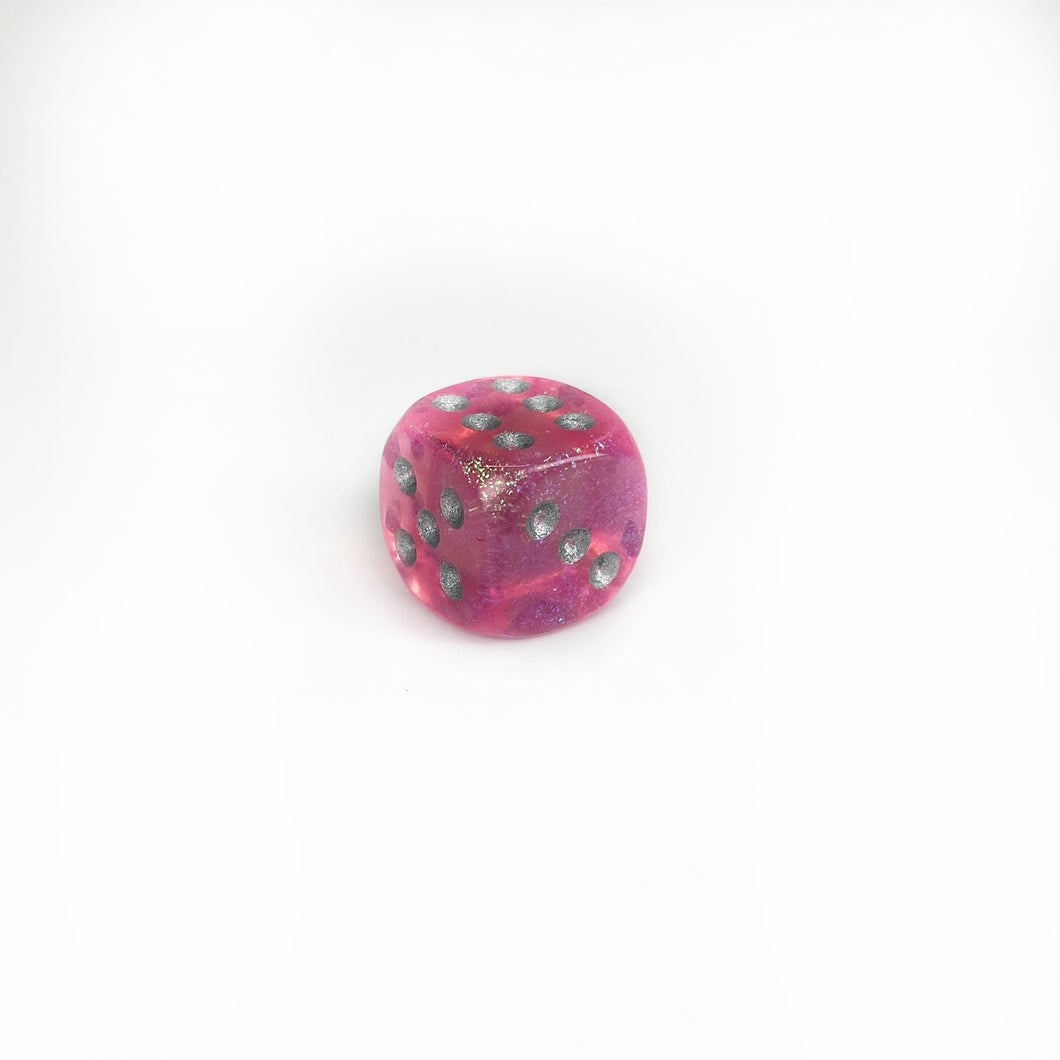 Single 12mm D6 w/pips Borealis Pink/silver (Original Glitter)