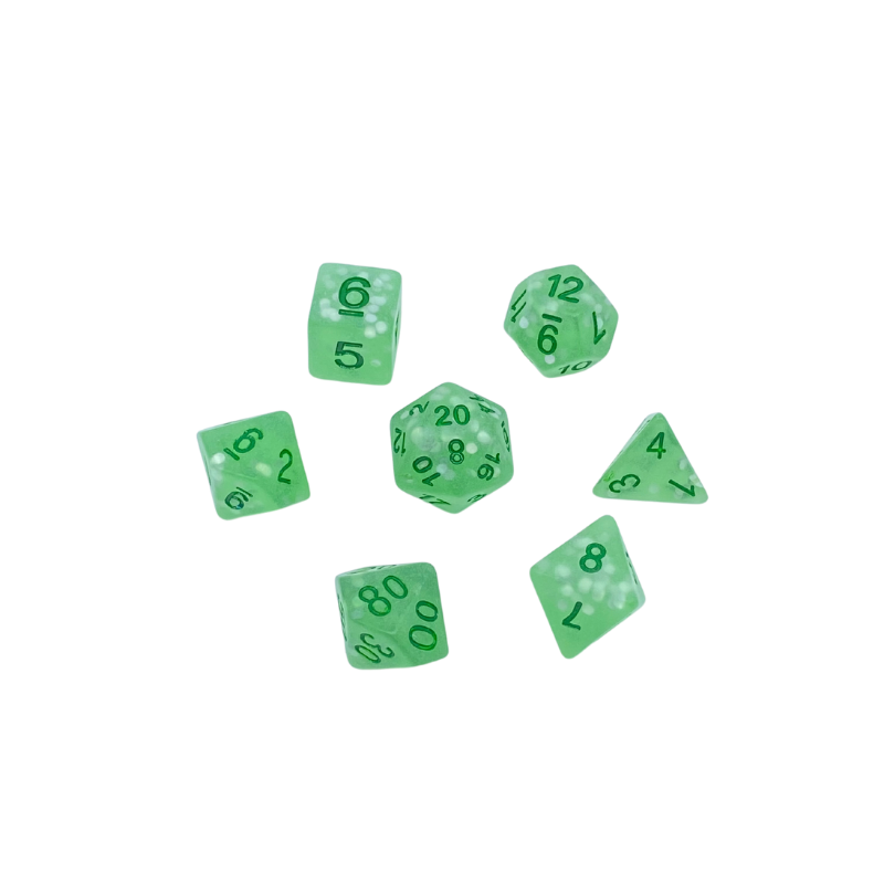 Green Frosted Dice Set