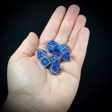 Mini Metal Polyhedral Dice Set - Nickel/Blue Enamel