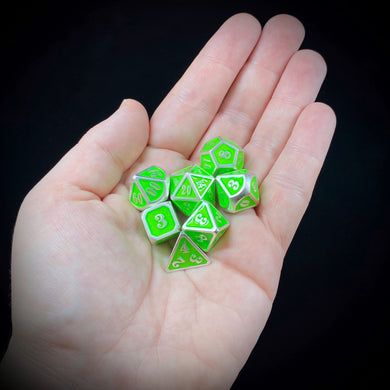 Mini Metal Polyhedral Dice Set - Pearl Silver/Lime Green Enamel
