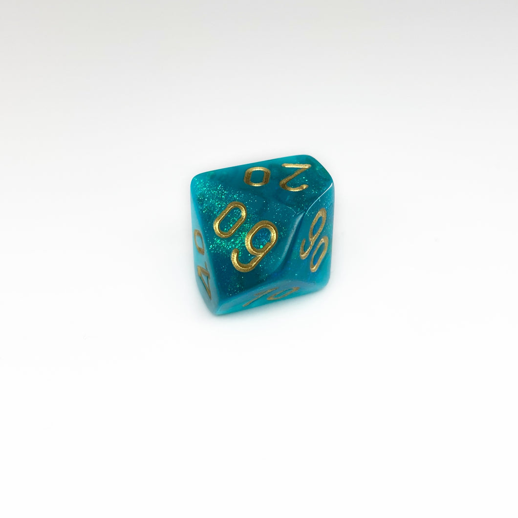 Single D10 Borealis Teal/gold (Original Glitter)