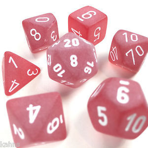CHXLE427: Red/White Frosted Polyhedral 7-Die Set