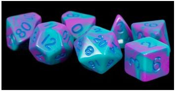 MDG Acrylic Dice Set Blue Numbers - Purple/Teal