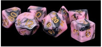 MDG Acrylic Dice Set Gold Numbers - Pink/Black
