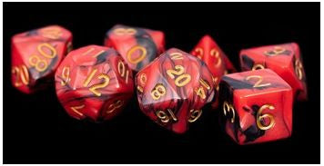 MDG Acrylic Dice Set Gold Numbers - Red/Black