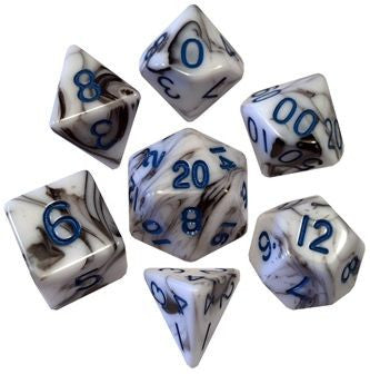 MDG Acrylic Dice Set marble - Blue Numbers