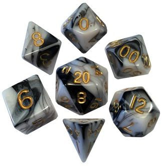 MDG Acrylic Dice Set Marble - Gold Numbers