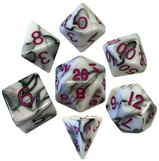 MDG Acrylic Dice Set Marble - Purple Numbers