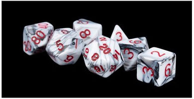 MDG Acrylic Dice Set Marble - Red Numbers