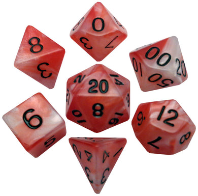 MDG Combo Attack Acrylic Dice Set Black Numbers - Red/White