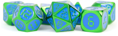 MDG Digital Enamel Metal Dice Set 16mm - Green with Blue Enamel