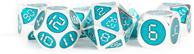 MDG Digital Enamel Metal Dice Set 16mm - Silver with Teal Enamel