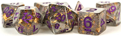 MDG Digital Resin Dice Set 16mm - Gray with Gold Foil, Purple Numbers
