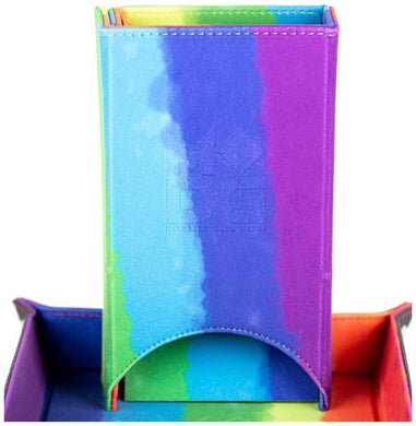MDG - Fold Up Velvet Dice Tower (Watercolour Rainbow)