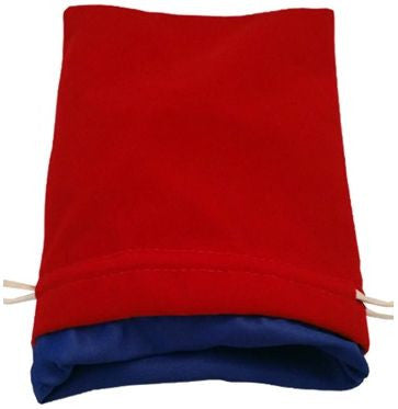 MDG Large Velvet Dice Bag Red w/Blue Satin Lining