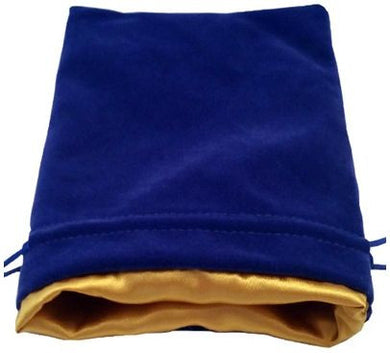 MDG Large Velvet Dice Bag Blue w/Gold Satin Lining