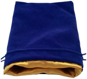 MDG Large Velvet Dice Bag with Gold Satin Lining - Blue