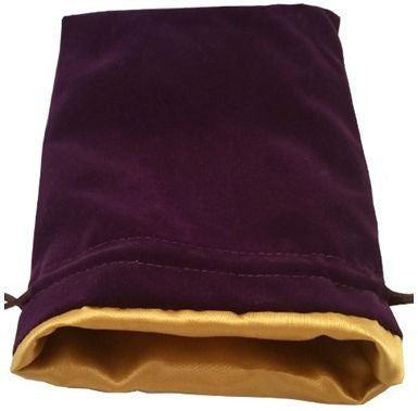 MDG Large Velvet Dice Bag with Gold Satin Lining - Purple