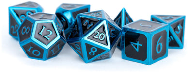MDG Metal Polyhedral Dice Set - Blue/Black Enamel