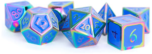 MDG Metal Polyhedral Dice Set - Rainbow/Blue Enamel