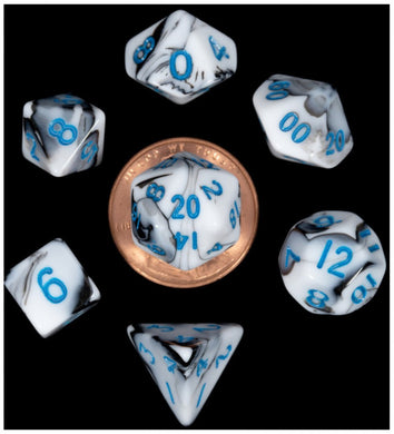 MDG Mini Polyhedral Dice Set Blue Numbers- Marble