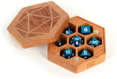 MDG Premium Wood Hex Dice Case Chest - Cherry