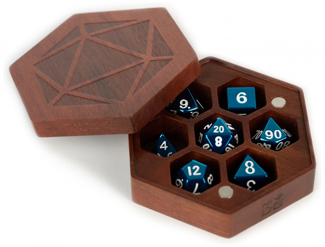 MDG Premium Wood Hex Dice Case Chest - Purple Heart