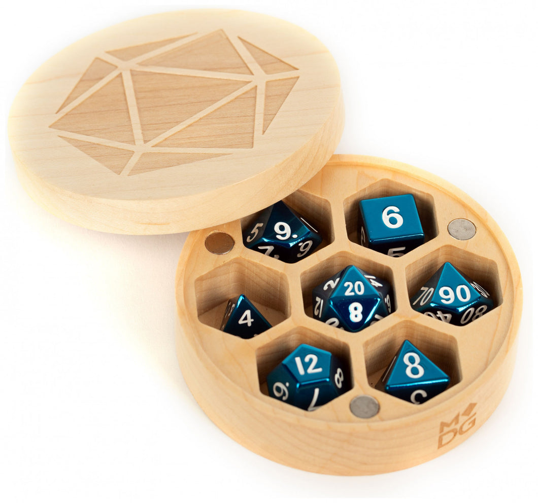 MDG Premium Wood Round Dice Case Chest - Maple