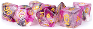 MDG Unicorn Resin Polyhedral Dice Set - Blushing Steel