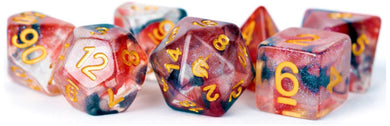 MDG Unicorn Resin Polyhedral Dice Set - Pheonix Ash