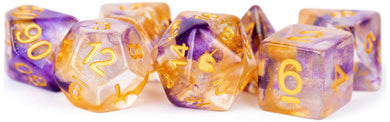 MDG Unicorn Resin Polyhedral Dice Set - Royal Sunset