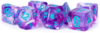 MDG Unicorn Resin Polyhedral Dice Set - Violet Infusion