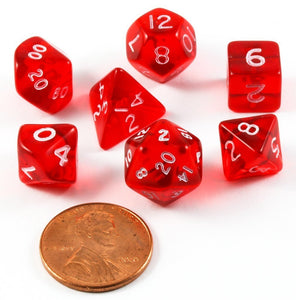 CHX23054: Miniature Translucent Red/White Polyhedral 7-Die Set